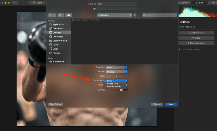 Changing sRGB color space for photo print