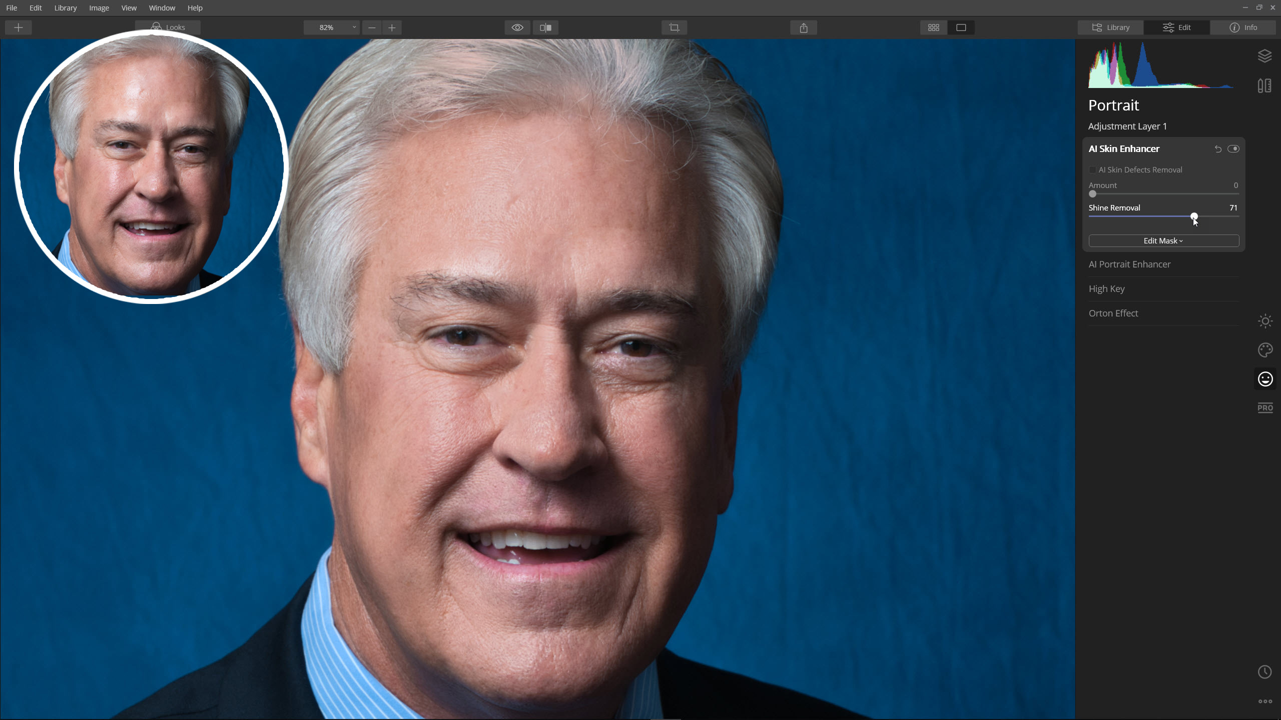 What causes shine on a portrait and how to fix it