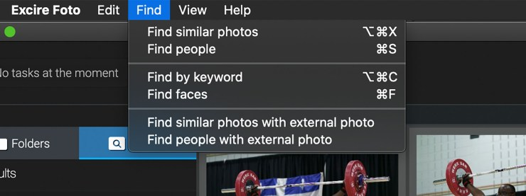Find your pictures Excire menu