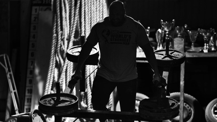 Backlit Strongman Athlete