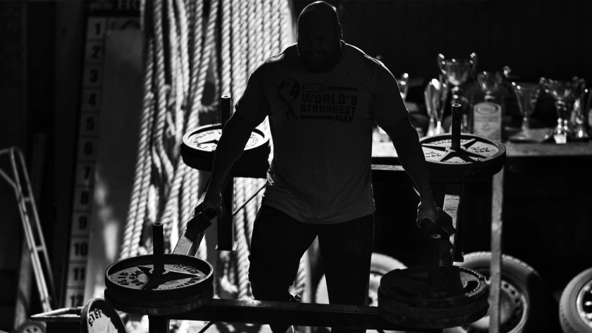 Backlit Strongman Athlete