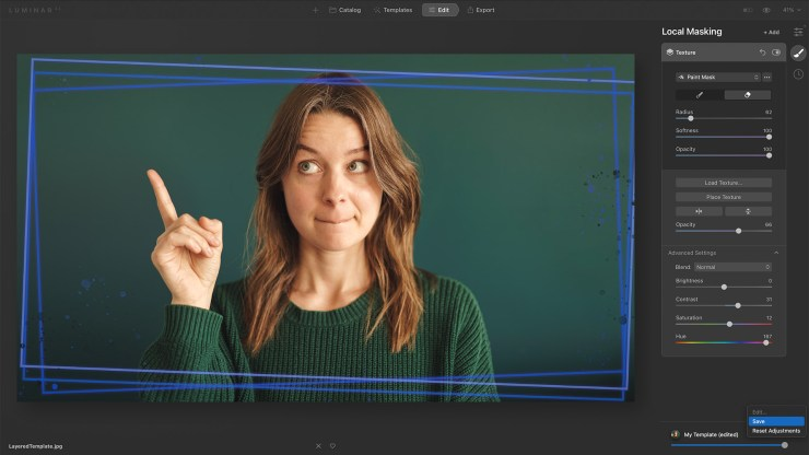 Layered template frame Luminar AI