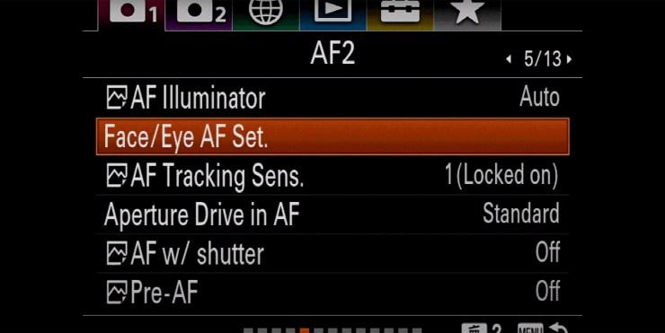 Sony autofocus Face/Eye AF Set