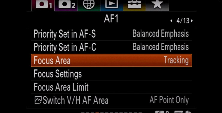 Sony setting focus area tracking