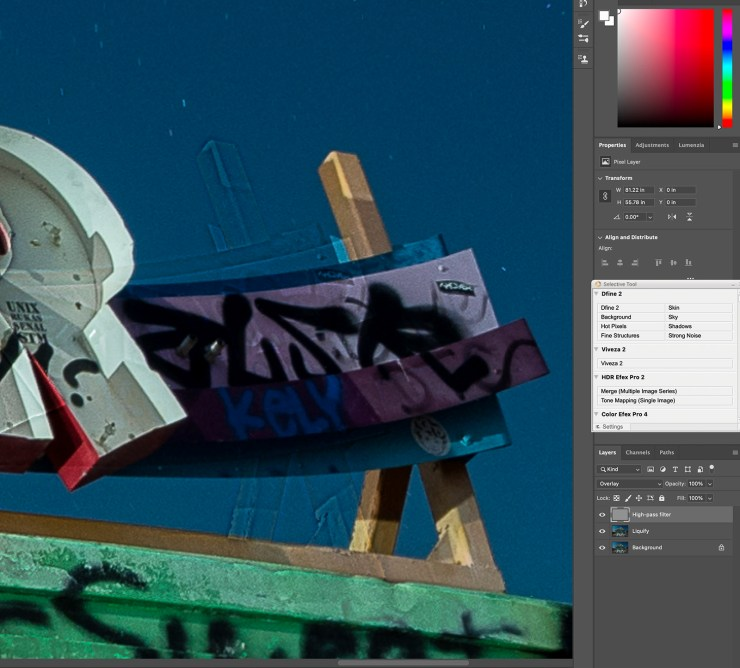 Ghosting after using the Liquify Tool on the layer below the High Pass Filter.