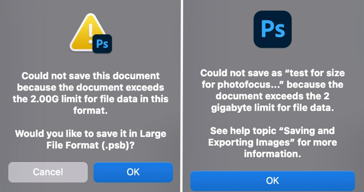 Warning messages when PSD files exceed 2G in size.