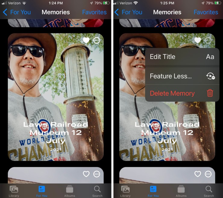 """Accessing Feature Less"""" in the Memories section of the Photos app."""
