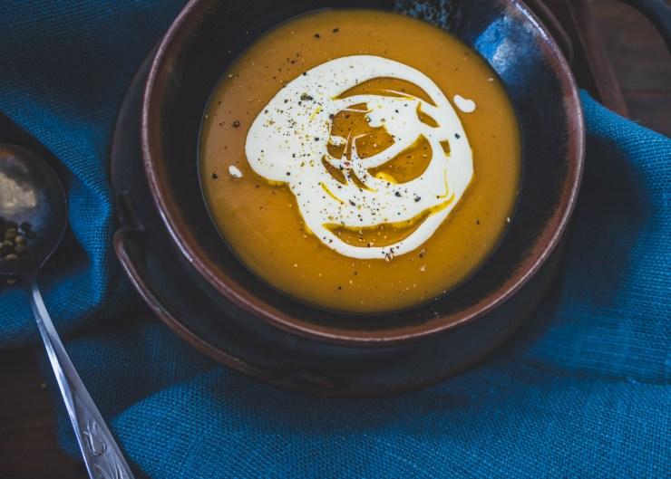Pumpkin and sweet potato soup