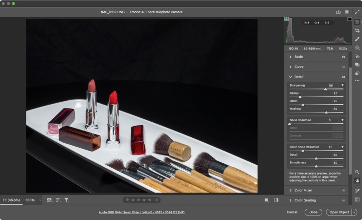 Opening a Apple ProRAW file in Adobe Camera Raw