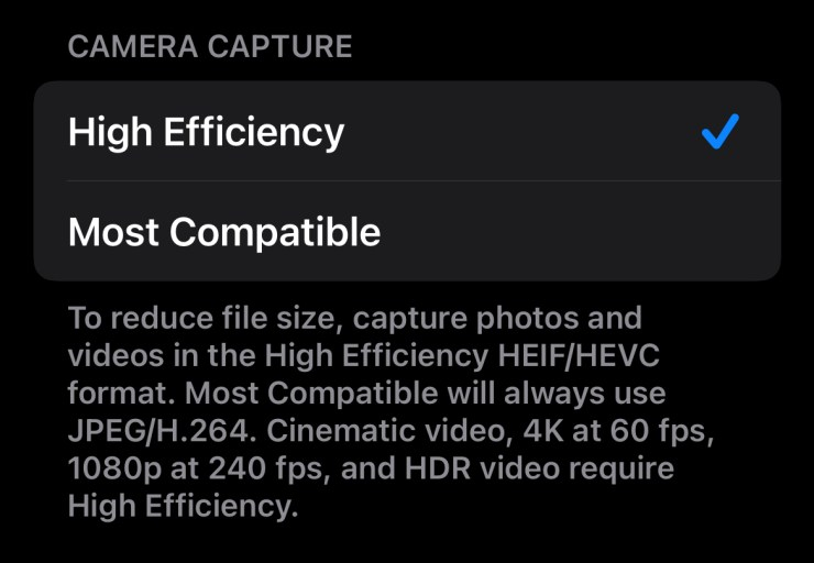 Choosing HEVC/HEIC on an iPhone 13 Pro