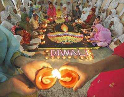 Muslim students celebrate Diwali in Ahmedabad, Gujarat