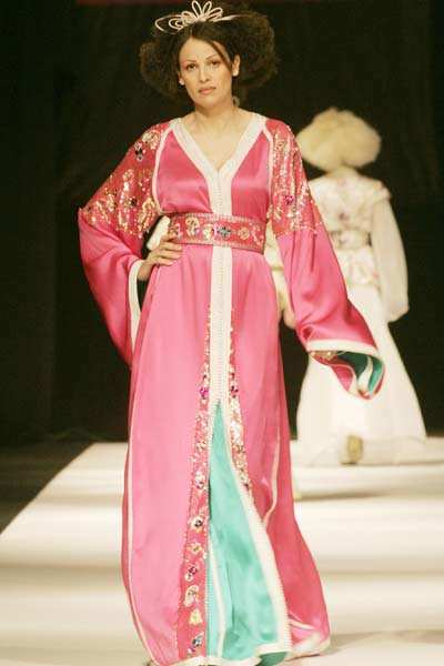 A model displays a creation by Moroccan designer Hassan ...