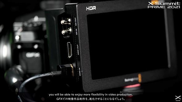 Blackmagic Video Assist monitor for BRAW recording on a Fujifilm GFX camera.