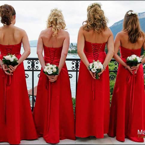 Les demoiselles d'honneur au bord du lac de Genève