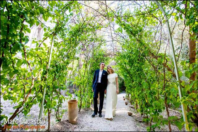 villa Jnane Tamsna photo des mariés dans les jardins