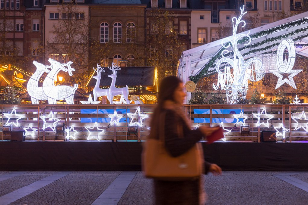 Christmas Winter Lights and Ice Ring in Place Guillaume II Luxembourg