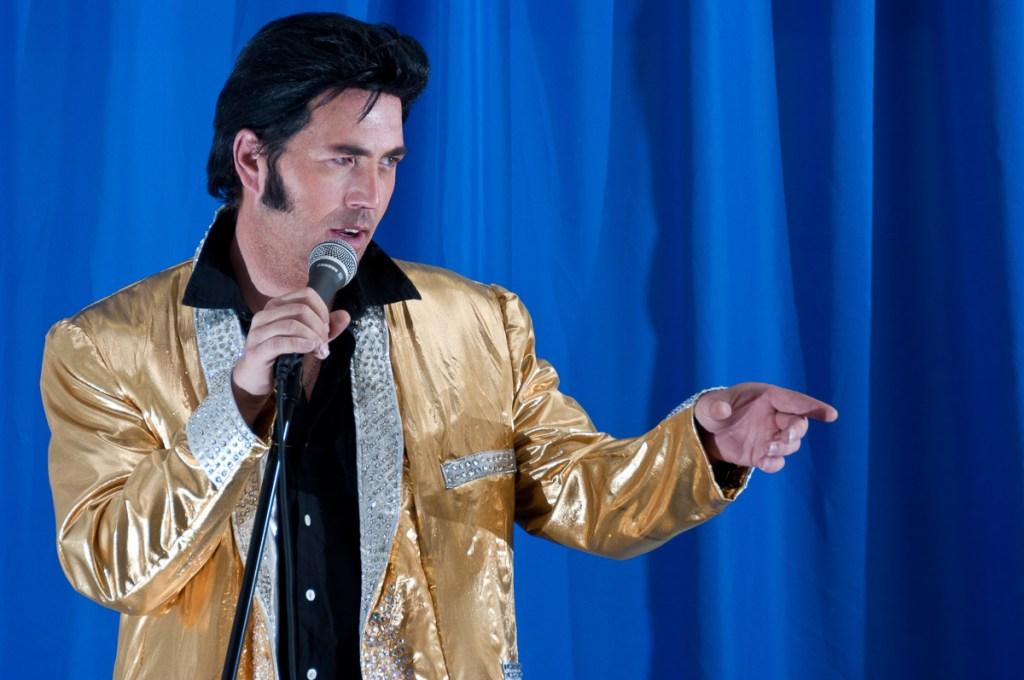 Photographers of Las Vegas - Portrait Photography - Elvis tribute artist blue background