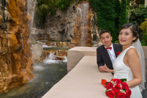 Photographers of Las Vegas - Wedding Photography - wedding bride and groom with waterfalls at Mandalay Bay