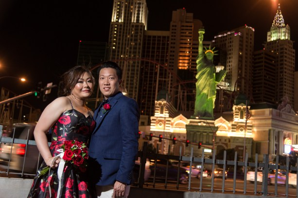 Photographers of Las Vegas - Wedding Photography - wedding couple with New york new york hotel in background
