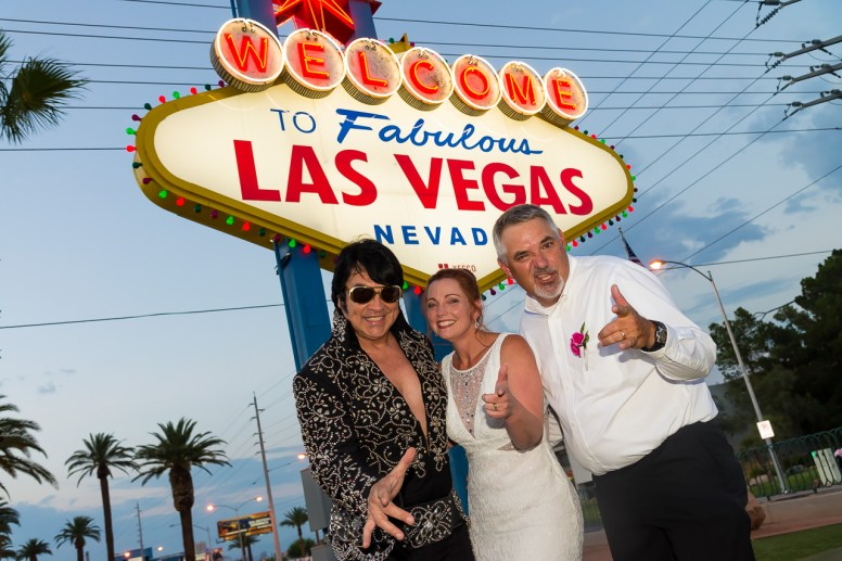 Photographers of Las Vegas - Vegas Strip Tour Photography - Wedding with Elvis at The Welcome to Fabulous Las Vegas Sign