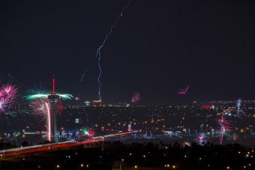 Photographers of Las Vegas - Landscape Photography - vegas stratosphere fireworks and lightning