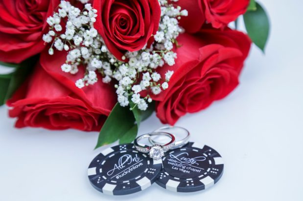 Photographers of Las Vegas - Wedding Photography- wedding bouquet and casino poker chips