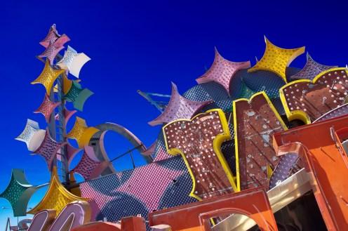 Photographers of Las Vegas - Architectural Photography - neon graveyard blue sky