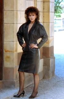 tina Black Leather suit Tatoon Park