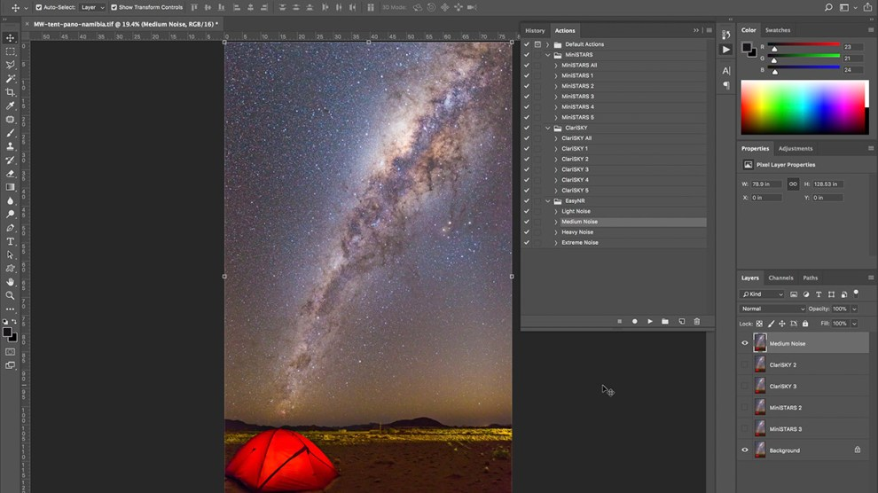 Milky Way Finisher Photoshop Actions: Example Workflow and