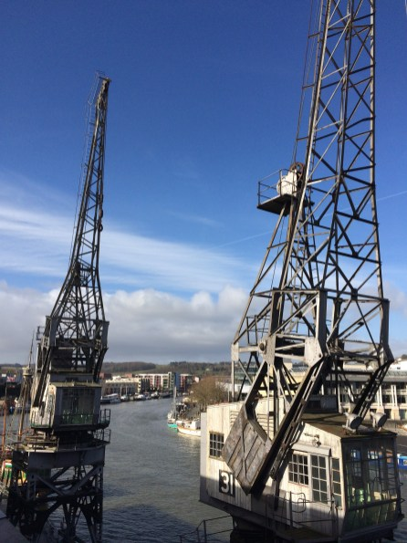 Old cranes at Bristol harbourside