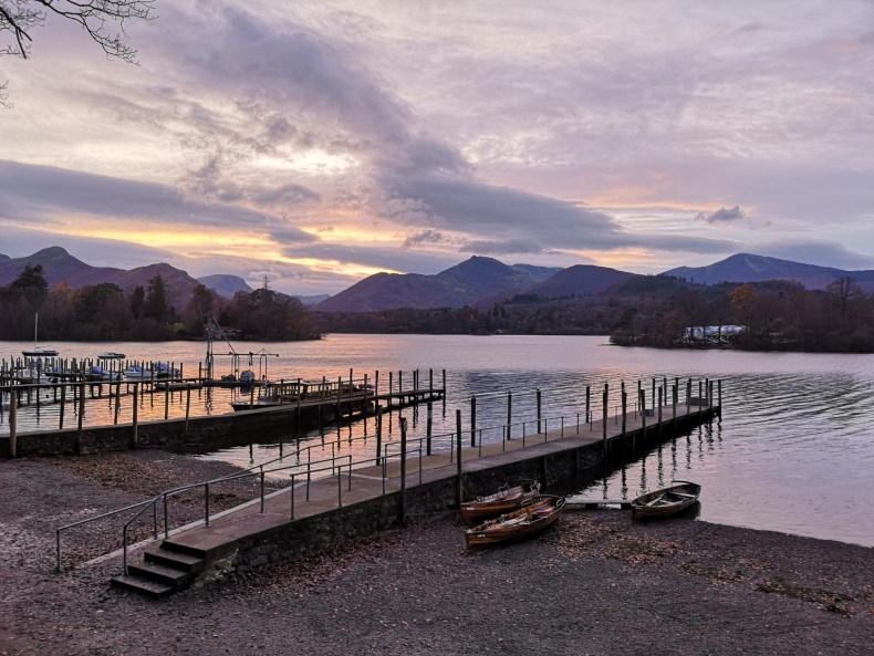 A sunset view to the Mountains across Derwentwater from Keswick