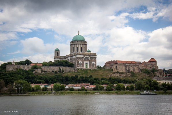 In Slovakia looking back into Hungary at the Esztergom Basilica