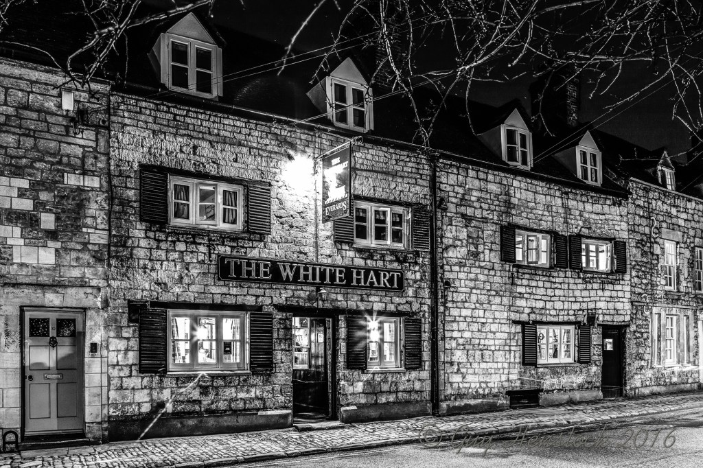 White Hart Headington Night Black and White