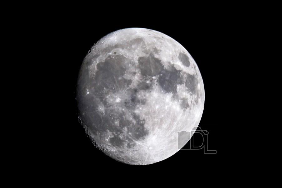 A near full moon on a crisp, clear fall night.
