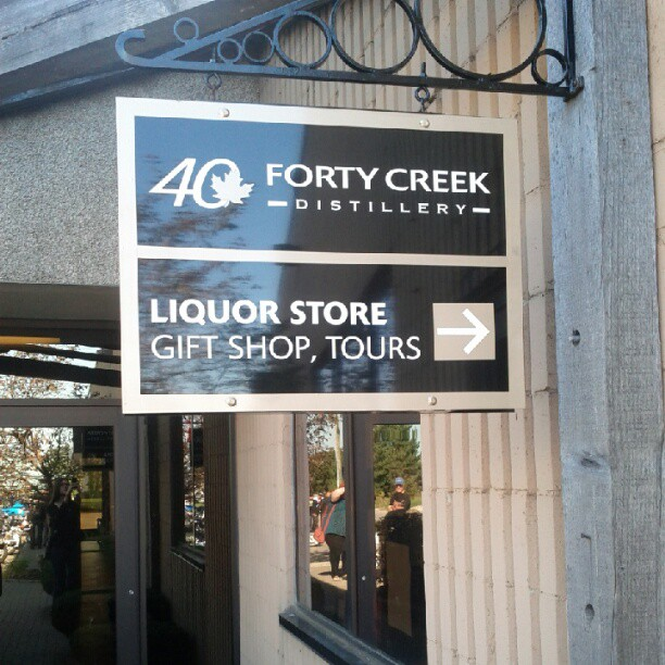 a photo of the sign for the forty creek distillery