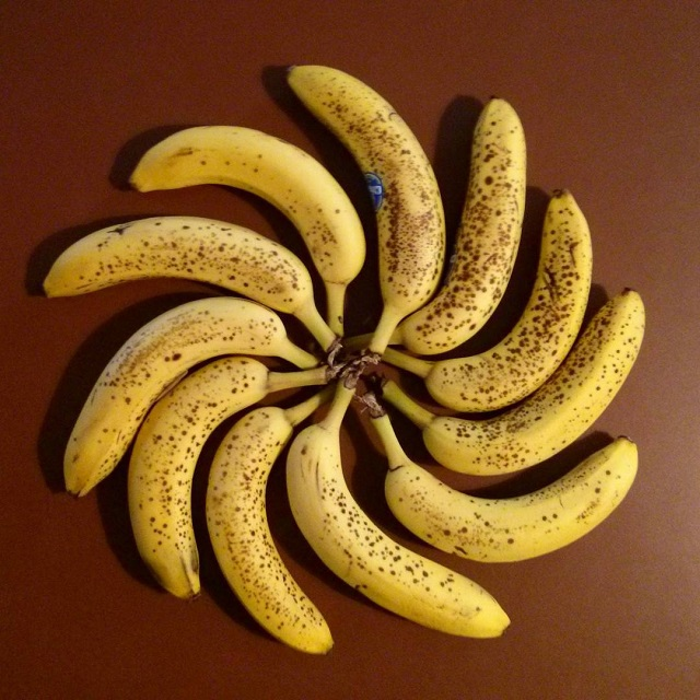 a photo of bananas arranged in a pinwheel shape