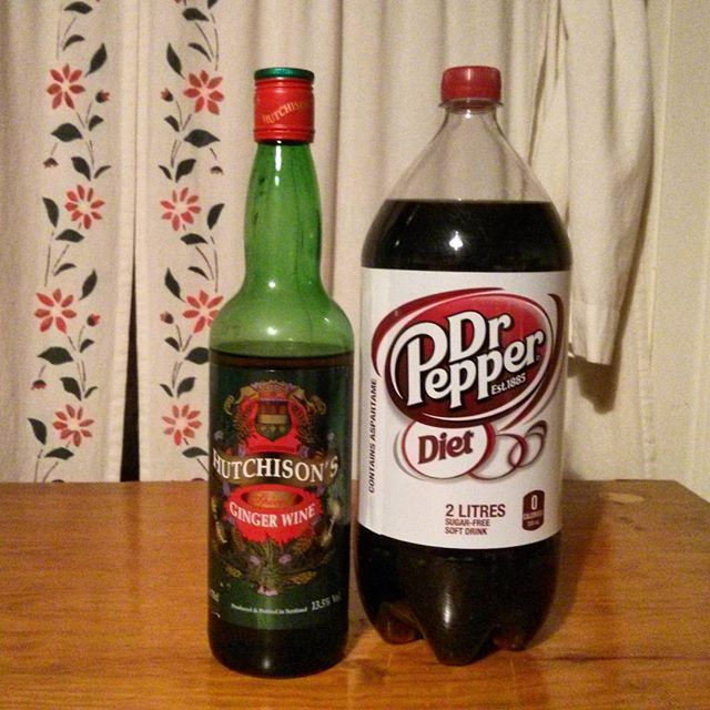 a photo of hutchison's ginger wine and diet dr pepper