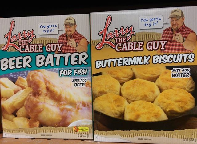 photo of larry the cable guy beer batter and buttermilk biscuits boxes