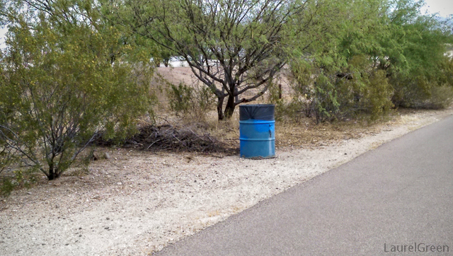 blue trash can alongside a path