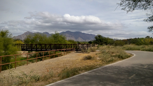 rusted bridge with the santa catalina mountains in the backrgound