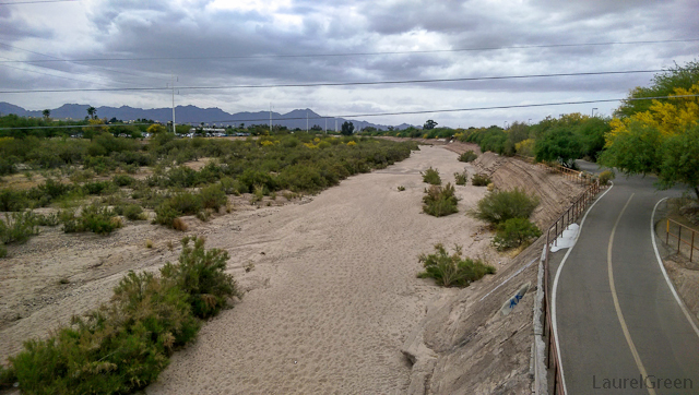 dry riverbed of the rillito river