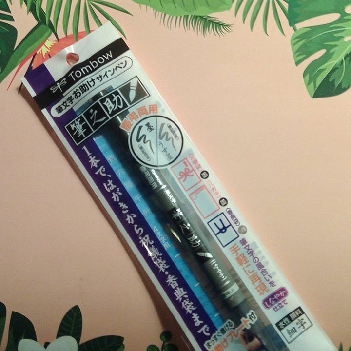 a photo of a plastic package with a tombow brush pen inside