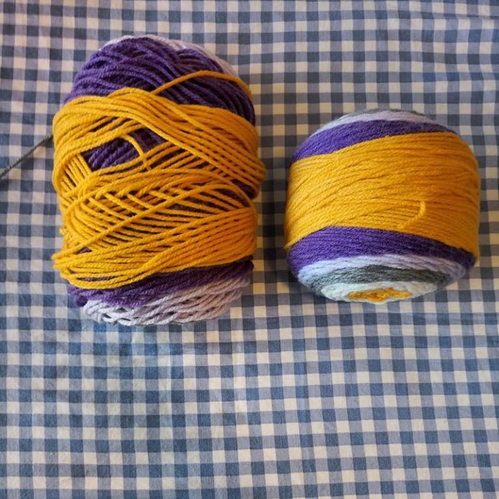 a comparison shot of a used, stretched-out yarn cake next to a fresh one