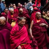 Monks descending the steps at the Hemis Tsechu Festival