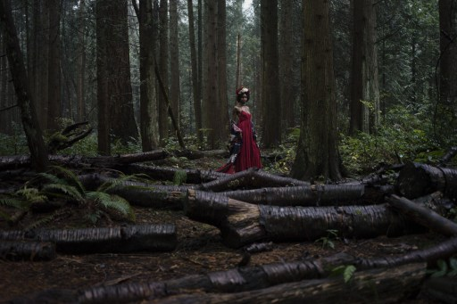 Natural light portrait of a young woman in a red dress and flower crown standing in the forest surrounded by fallen logs in Pacific Spirit National Park in Vancouver BC