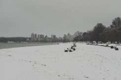 Kitsilano Beach looking across to English Bay on a snowy day in Vancouver BC