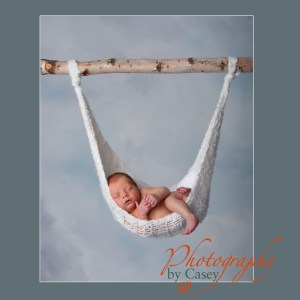 Newborn baby sleeping in hammock photographer