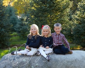 Childrens photos at Christmas tree farm