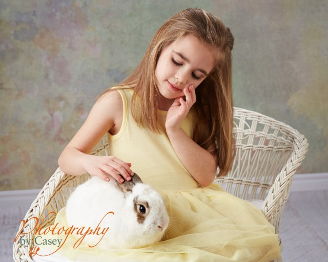 photography sessions of children with live bunnies