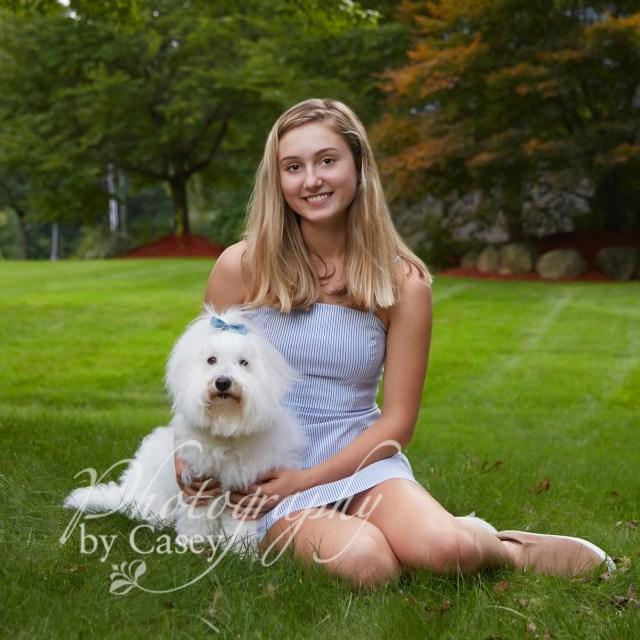 High School Senior Photo with Pet